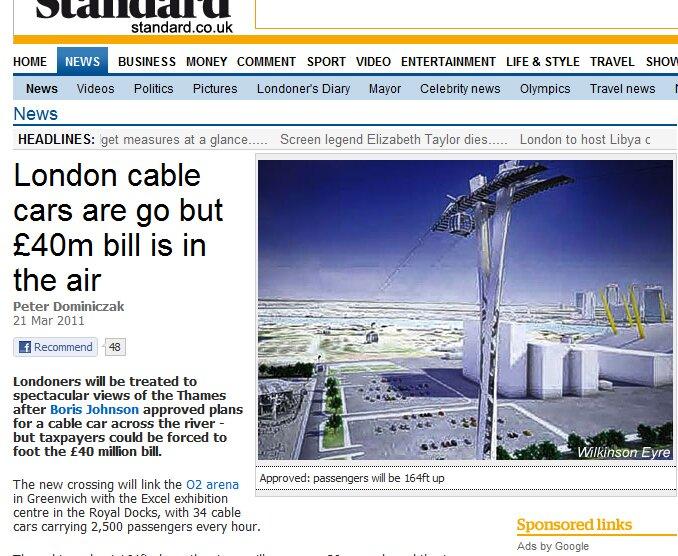 Londres terá teleférico com vista para o Rio Tâmisa