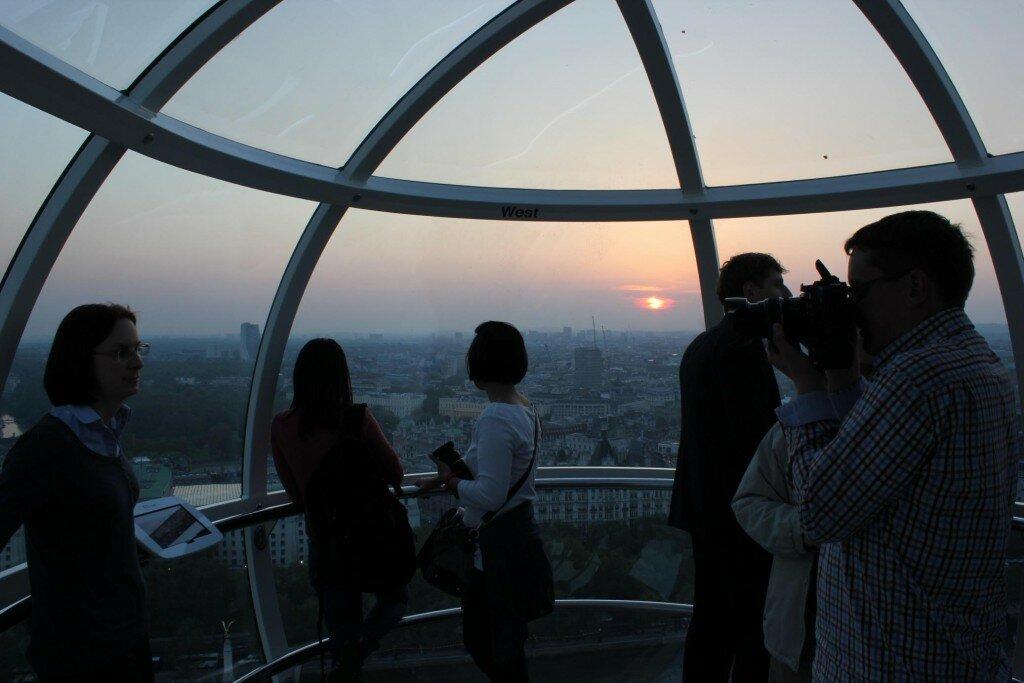 Anoitecer é uma das atrações na London Eye. Foto: Mapa de Londres