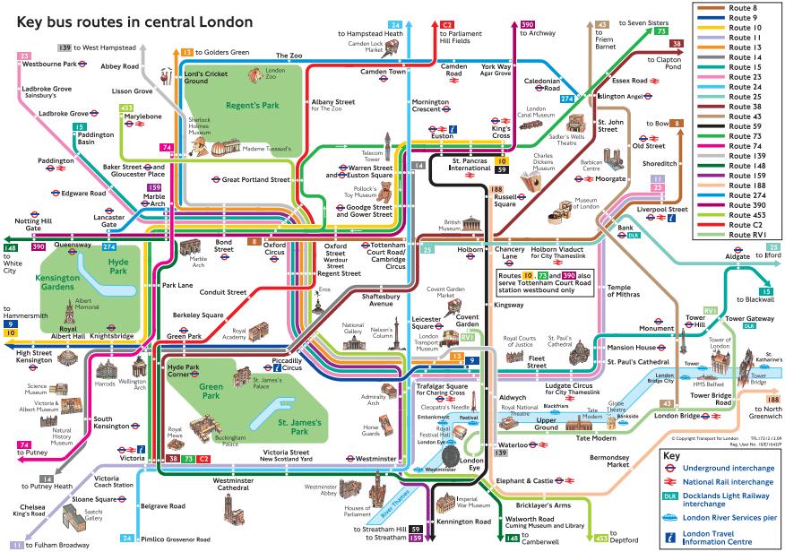 Mapa de ônibus de Londres