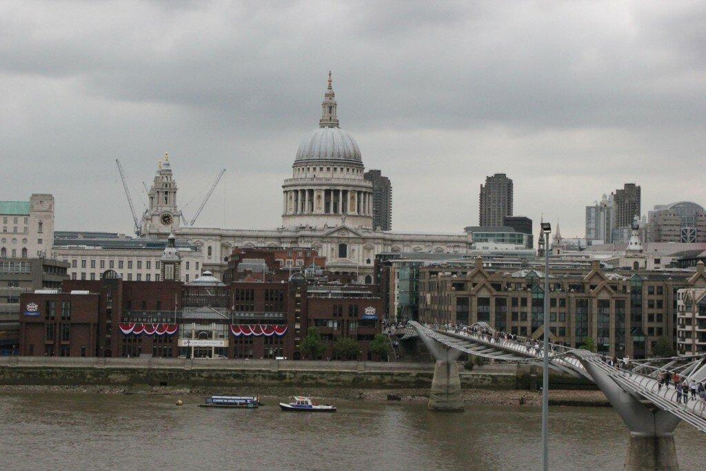 Visão da Tate Modern para a St Paul's Cathedral. Foto: Mapa de Londres