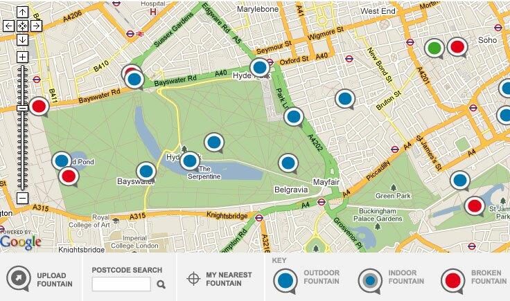 Mapa de bebedouros em Londres