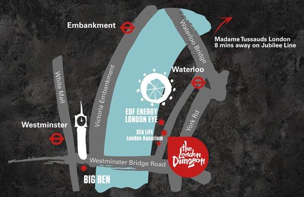 Mapa para chegar à London Dungeon