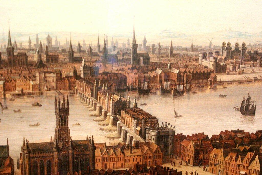 Pintura mostra como era a Ponte de Londres na Idade Média, repleta de casas, lojas e cabeças dos executados na Torre de Londres