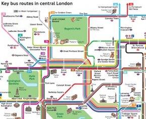 Guia do ônibus em Londres