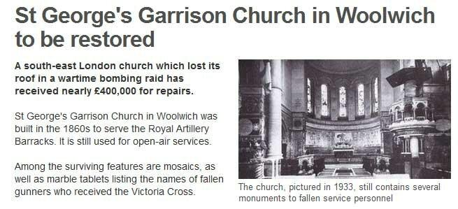Vítima de guerra, St George's Garrison Church será restaurada
