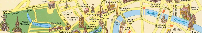 Mapa de pontos turísticos de Londres