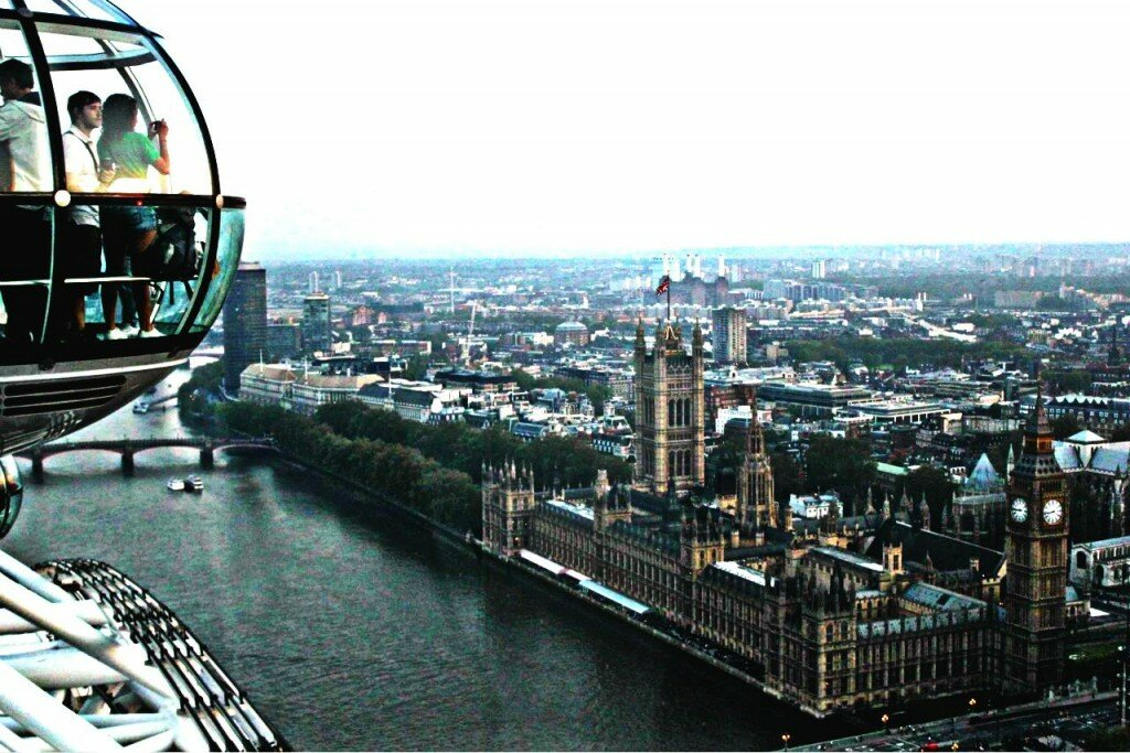 Vista da London Eye para Westminster. Foto: Mapa de Londres