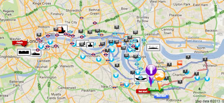 Mapa da Maratona de Londres