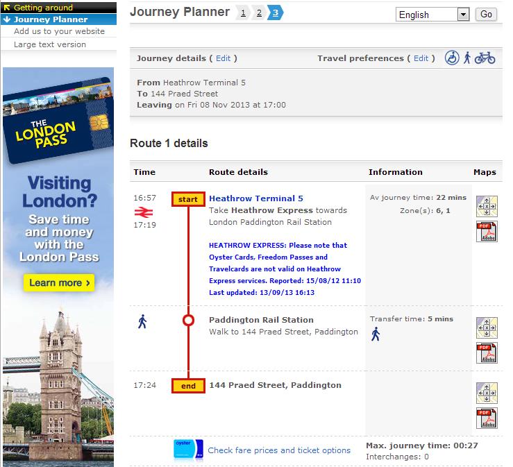 Journey Planner - Mapa de Londres