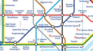 Zonas centrais do mapa do metrö de Londres