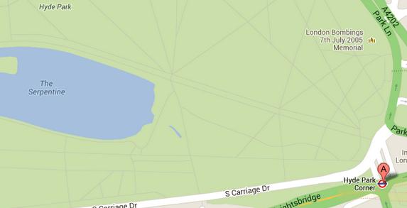 Pont A indica o Hyde Park Corner. Reprodução, Google Maps