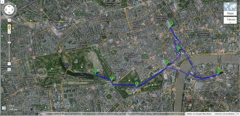 Roteiro do leitor - Mapa de Londres