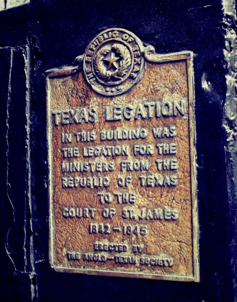 Placa que marca local da embaixa da República do Texas. Foto: Mapa de Londres
