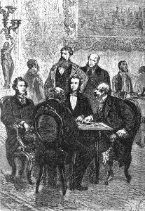 Ilustração da aposta de Fogg, por Alphonse de Neuville e Léon Benett. Foto: Domínio Público
