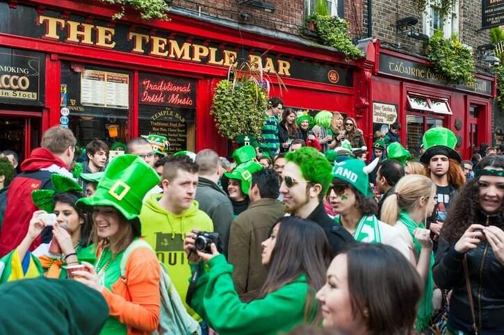 St Patrick's Day em Dublin na Temple Bar