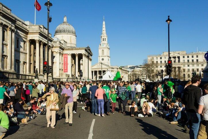 St Patrick's Day em Londres na Trafalgar Square