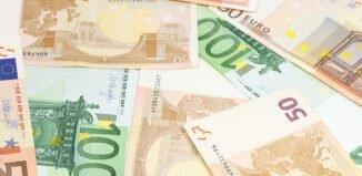 Notas de euro em Londres