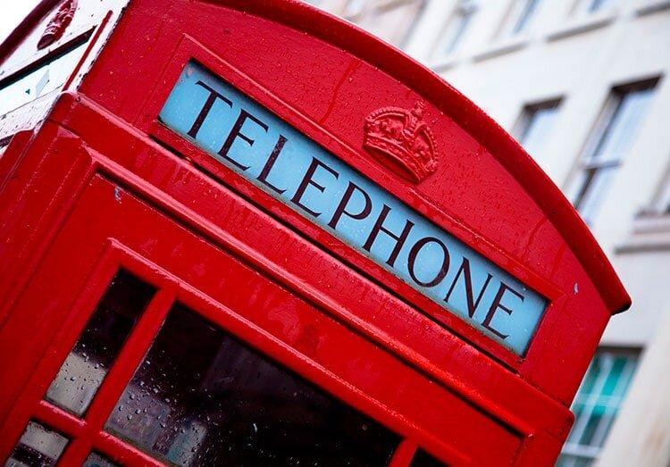 Telephone - Inglês para viagem - mapa de londres