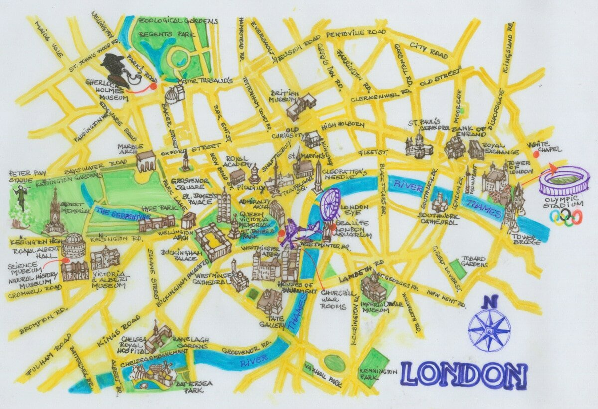 Mapa de atracciones en Londres